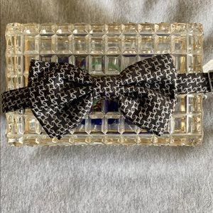 NWT Halston Silk Grey, Black & silver Bow tie